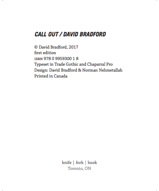 BRADFORD CALL OUT BACK COVER